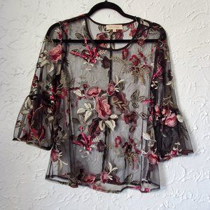 Solitaire Sheer Embroided Floral Blouse